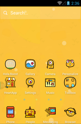 Crazy Yellow android theme home screen