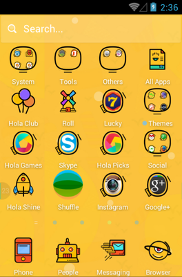Crazy Yellow android theme application menu