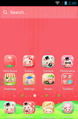Rabbit Family android theme home screen