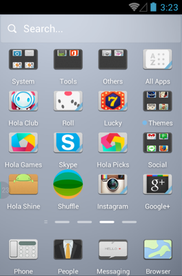 Pale Style android theme application menu