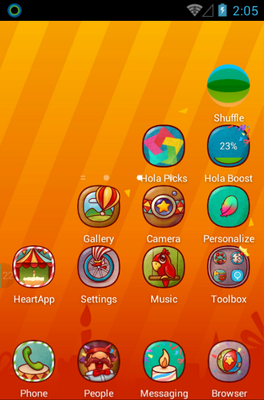 Hola Day android theme home screen
