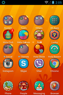 Hola Day android theme application menu