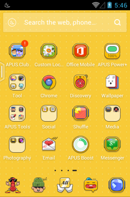Cartoon Party android theme application menu