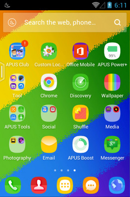 Rainbow OS android theme application menu