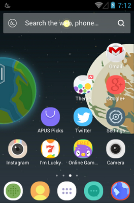 Home Planet android theme home screen