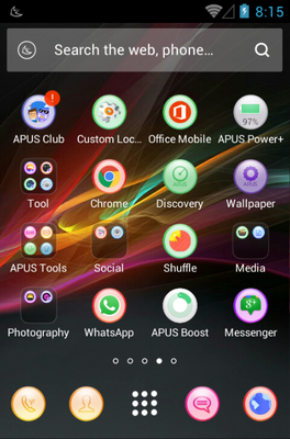Colorful android theme application menu