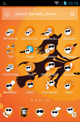 Mischievous Skull android theme application menu