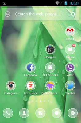 Frosted Glass android theme home screen