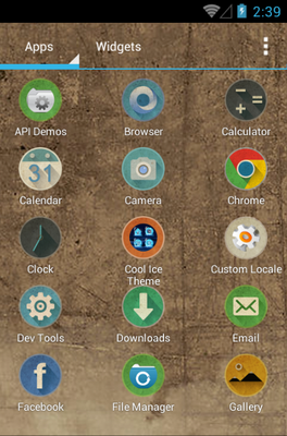 Retro android theme application menu