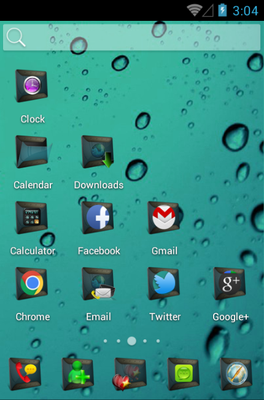 Black 3D android theme home screen