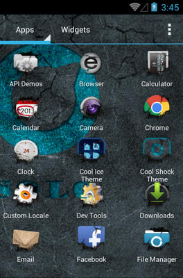 Cool Shock android theme application menu