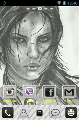 Larа Croft android theme home screen